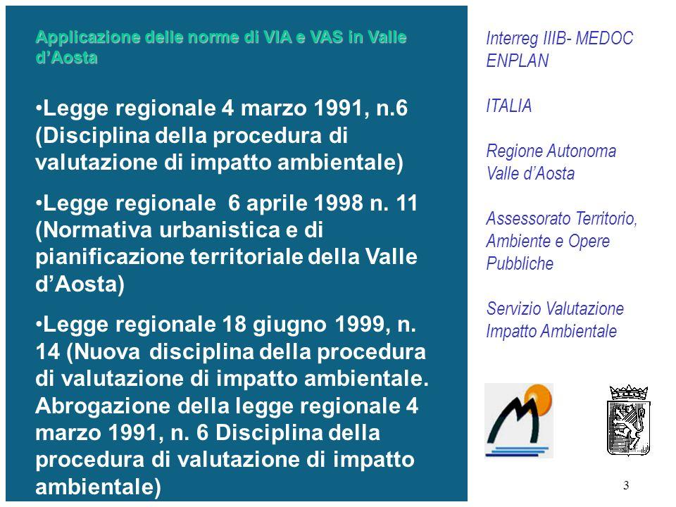 3 Applicazione delle norme di VIA e VAS in Valle dAosta Legge regionale 4 marzo 1991, n.6 (Disciplina della procedura di valutazione di impatto ambientale) Legge regionale 6 aprile 1998 n.