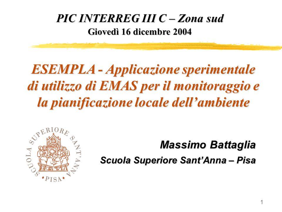 1 PIC INTERREG III C – Zona sud Giovedì 16 dicembre 2004 ESEMPLA - Applicazione sperimentale di utilizzo di EMAS per il monitoraggio e la pianificazione locale dellambiente Massimo Battaglia Scuola Superiore SantAnna – Pisa