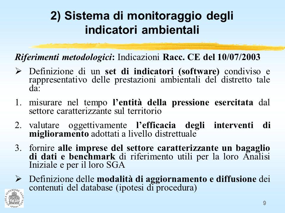 9 2) Sistema di monitoraggio degli indicatori ambientali Riferimenti metodologici: Indicazioni Racc.