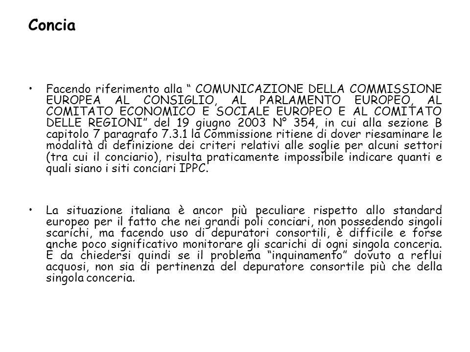 Concia Facendo riferimento alla COMUNICAZIONE DELLA COMMISSIONE EUROPEA AL CONSIGLIO, AL PARLAMENTO EUROPEO, AL COMITATO ECONOMICO E SOCIALE EUROPEO E