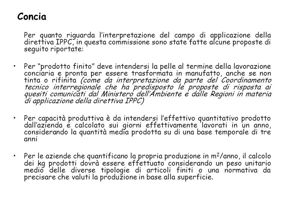 Concia Per quanto riguarda linterpretazione del campo di applicazione della direttiva IPPC, in questa commissione sono state fatte alcune proposte di