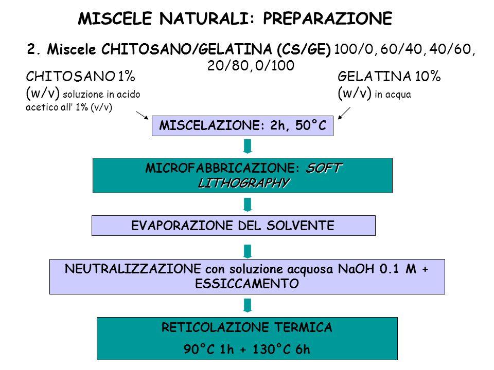MISCELE NATURALI: PREPARAZIONE 2. Miscele CHITOSANO/GELATINA (CS/GE) 100/0, 60/40, 40/60, 20/80, 0/100 CHITOSANO 1% (w/v) soluzione in acido acetico a