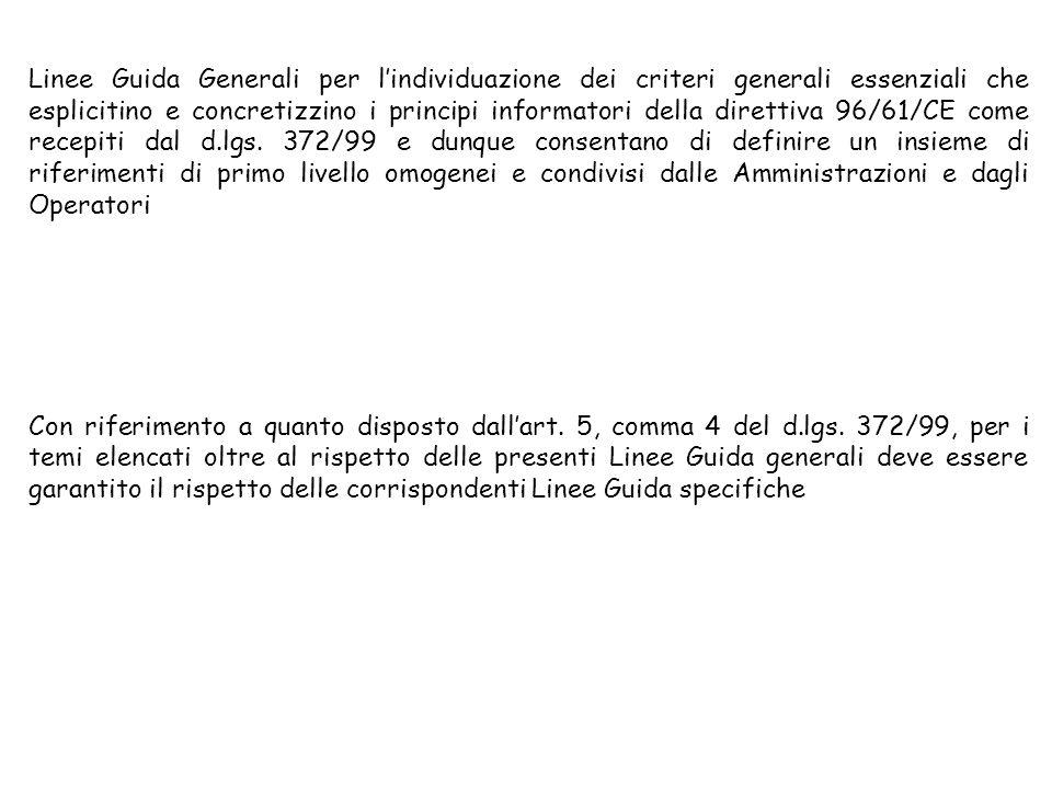 Linee Guida Generali per lindividuazione dei criteri generali essenziali che esplicitino e concretizzino i principi informatori della direttiva 96/61/