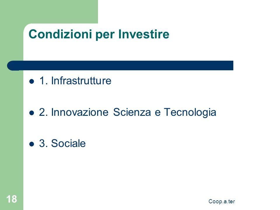 Coop.a.ter 18 Condizioni per Investire 1. Infrastrutture 2.
