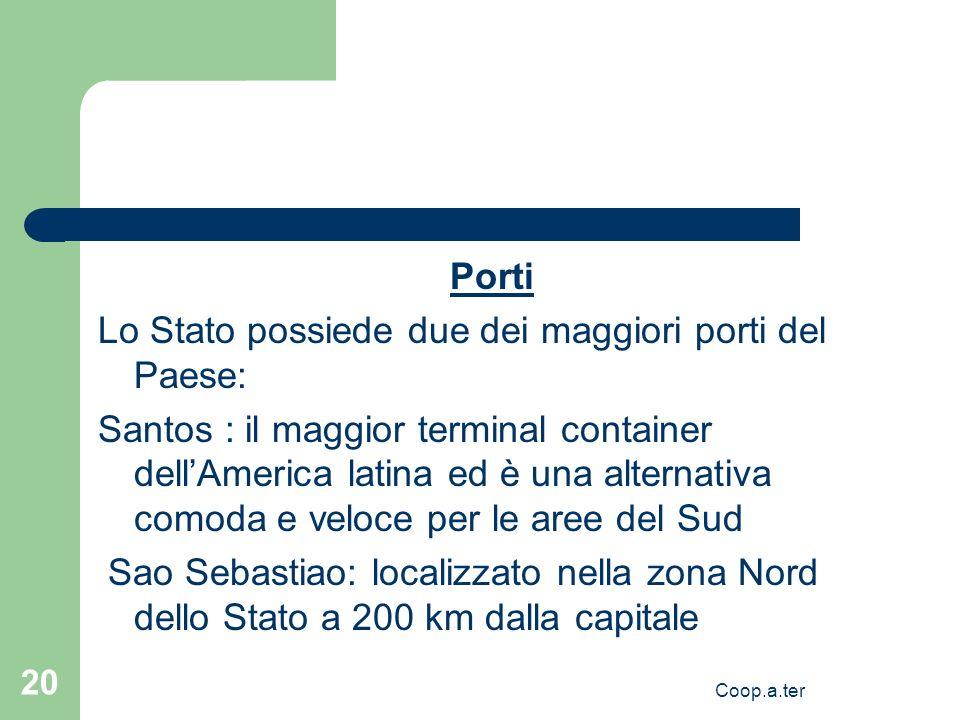 Coop.a.ter 20 Porti Lo Stato possiede due dei maggiori porti del Paese: Santos : il maggior terminal container dellAmerica latina ed è una alternativa comoda e veloce per le aree del Sud Sao Sebastiao: localizzato nella zona Nord dello Stato a 200 km dalla capitale