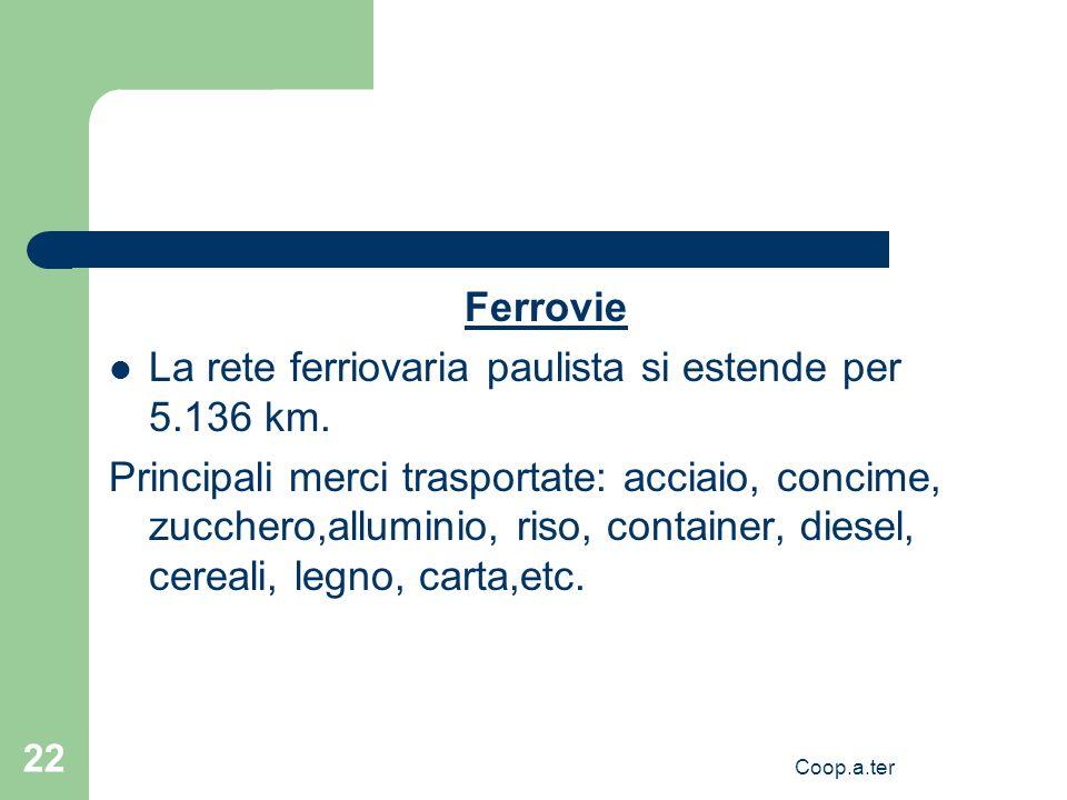 Coop.a.ter 22 Ferrovie La rete ferriovaria paulista si estende per 5.136 km. Principali merci trasportate: acciaio, concime, zucchero,alluminio, riso,