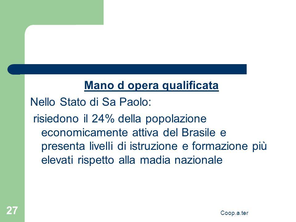 Coop.a.ter 27 Mano d opera qualificata Nello Stato di Sa Paolo: risiedono il 24% della popolazione economicamente attiva del Brasile e presenta livell