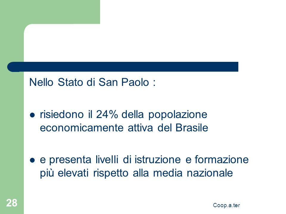Coop.a.ter 28 Nello Stato di San Paolo : risiedono il 24% della popolazione economicamente attiva del Brasile e presenta livelli di istruzione e formazione più elevati rispetto alla media nazionale