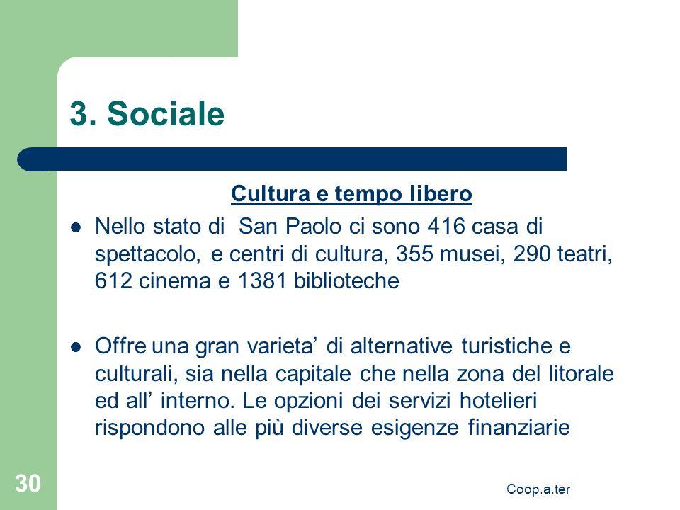 Coop.a.ter 30 3. Sociale Cultura e tempo libero Nello stato di San Paolo ci sono 416 casa di spettacolo, e centri di cultura, 355 musei, 290 teatri, 6