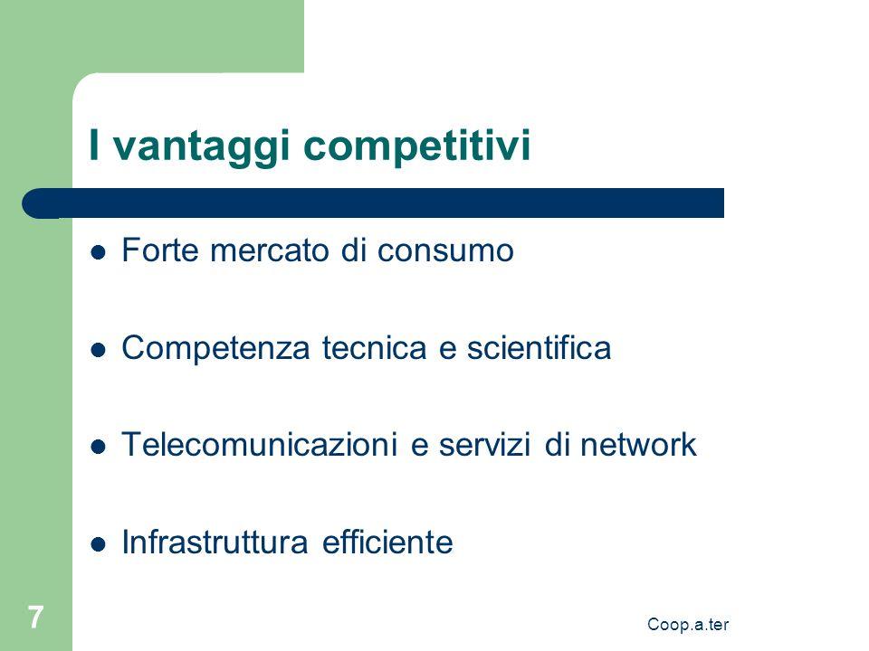 Coop.a.ter 7 I vantaggi competitivi Forte mercato di consumo Competenza tecnica e scientifica Telecomunicazioni e servizi di network Infrastruttura efficiente