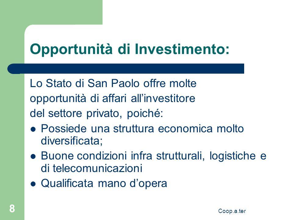 Coop.a.ter 8 Opportunità di Investimento: Lo Stato di San Paolo offre molte opportunità di affari allinvestitore del settore privato, poiché: Possiede