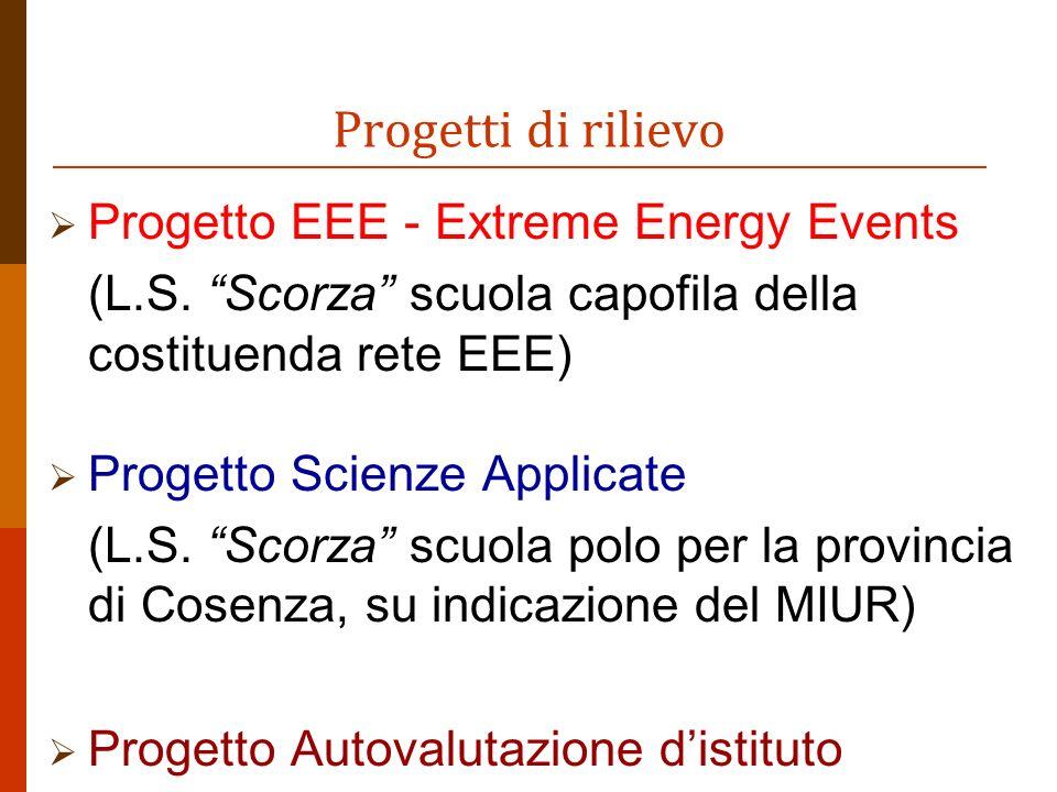 Progetti di rilievo Progetto EEE - Extreme Energy Events (L.S.