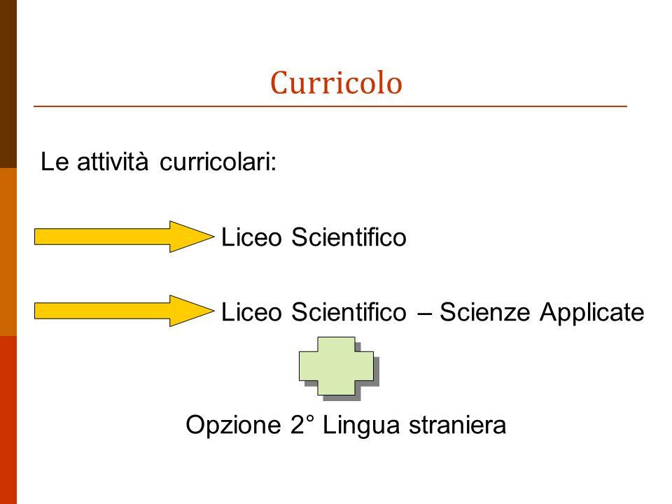 Curricolo Le attività curricolari: Liceo Scientifico Liceo Scientifico – Scienze Applicate Opzione 2° Lingua straniera