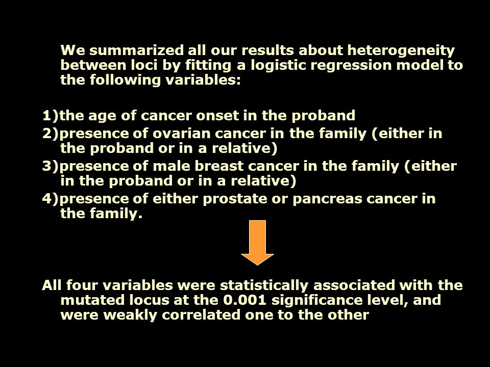 We summarized all our results about heterogeneity between loci by fitting a logistic regression model to the following variables: 1)the age of cancer onset in the proband 2)presence of ovarian cancer in the family (either in the proband or in a relative) 3)presence of male breast cancer in the family (either in the proband or in a relative) 4)presence of either prostate or pancreas cancer in the family.