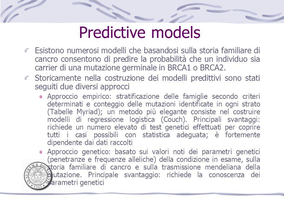 Predictive models Esistono numerosi modelli che basandosi sulla storia familiare di cancro consentono di predire la probabilità che un individuo sia carrier di una mutazione germinale in BRCA1 o BRCA2.