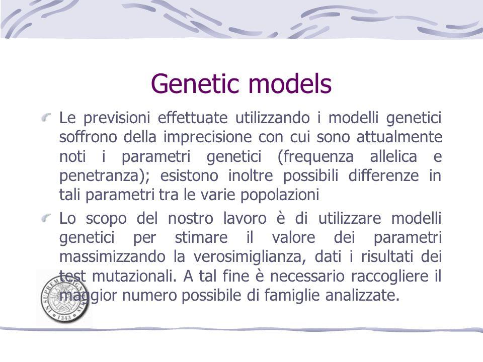 Data analysis Abbiamo raccolto da cinque centri partecipanti al Consorzio Italiano per i Tumori Ereditari della Mammella e dellOvaio 568 famiglie sottoposte a test mutazionale per BRCA1 e/o BRCA2.