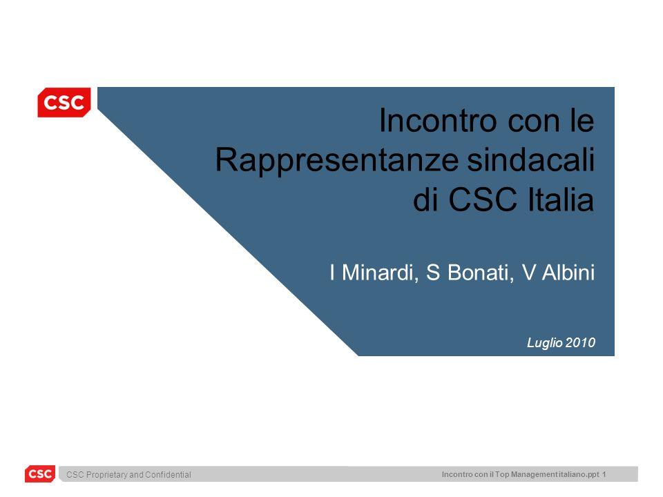 CSC Proprietary and Confidential Incontro con il Top Management italiano.ppt 12 ITALIAN IT MKT: TREND AND FORECAST 9.317 Sviluppo e manutenzione Sistemi embedded Servizi di elaborazione Education & Training Outsourcing / FM System Integration Consulenza 9.355 -1.0% -2,7% +1,1% +1,0% +2,4% -3.1% +2.2% +0,4% 8.750 -8.7% -8.8% -7.0% -6.8% -3.5% -9.3% -5.0% -6.5% Valori in Milioni di Euro e variazioni % Fonte: Assinform / NetConsulting Mercato dei servizi in Italia nel 2009 Il mercato dei Servizi IT ha registrato una decrescita inferiore rispetto a HW, ma comunque significativa.
