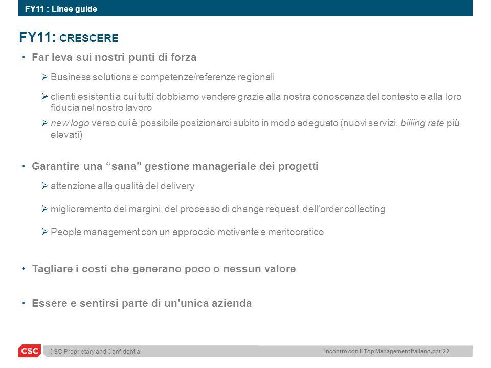 Incontro con il Top Management italiano.ppt 22 CSC Proprietary and Confidential FY11: CRESCERE Far leva sui nostri punti di forza Business solutions e