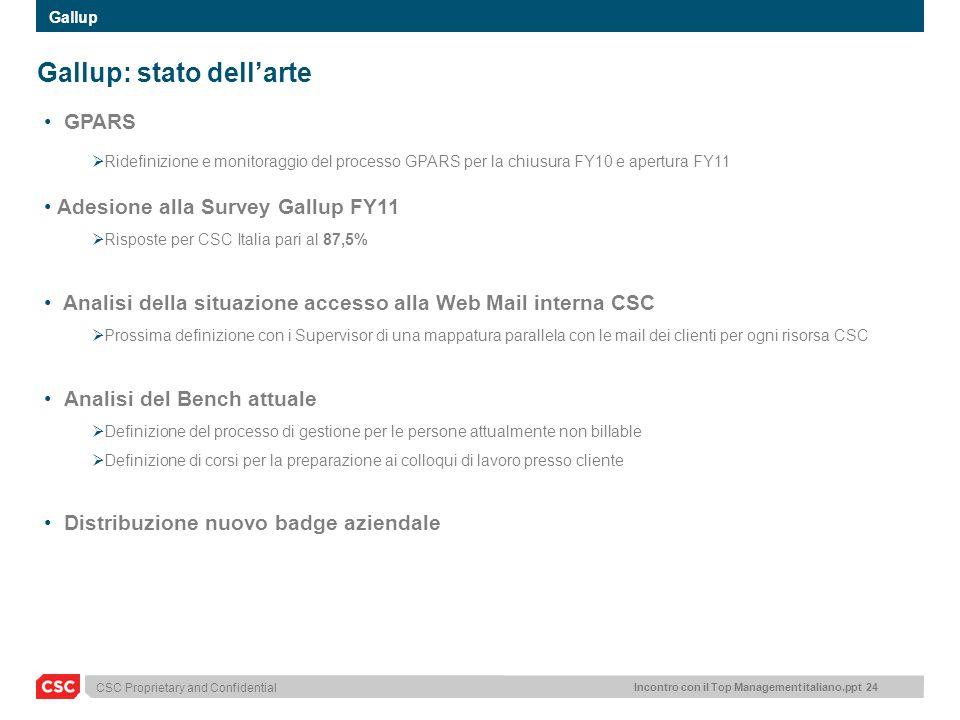 Incontro con il Top Management italiano.ppt 24 CSC Proprietary and Confidential Gallup: stato dellarte GPARS Ridefinizione e monitoraggio del processo