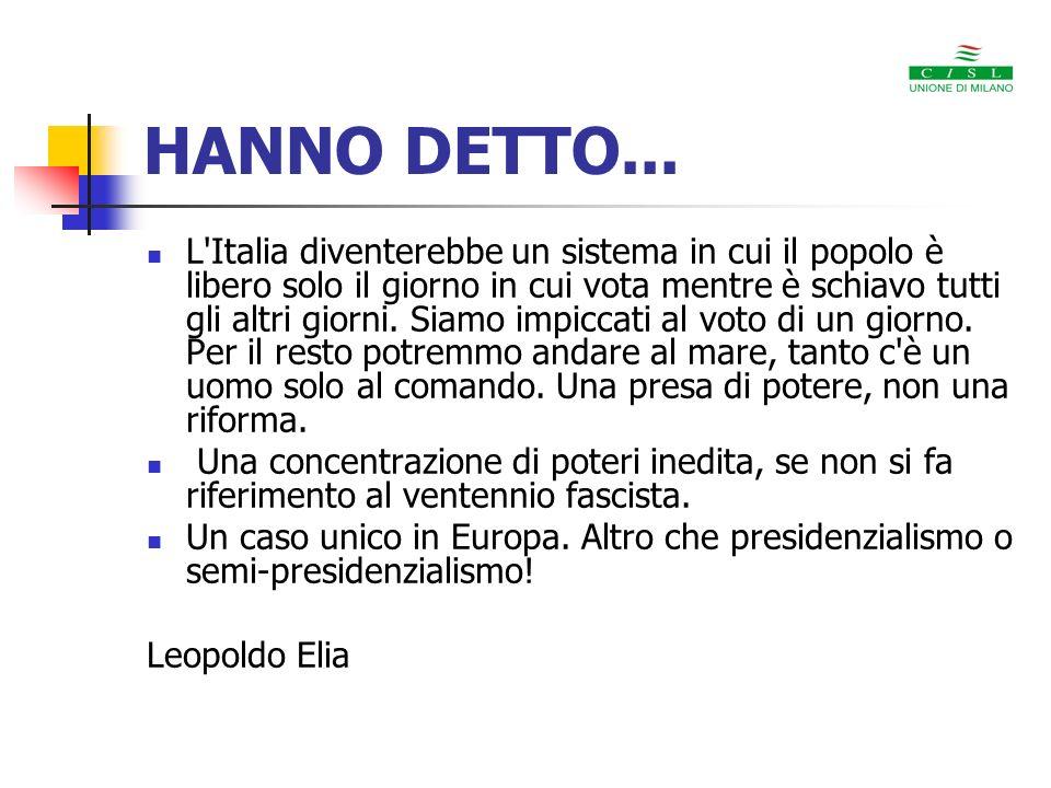 HANNO DETTO... Un allontanamento tout court dalla forma democratica. Umberto Allegretti