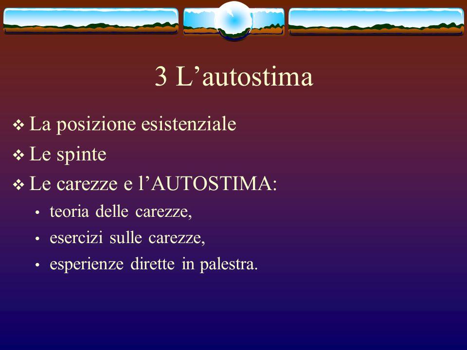 3 Lautostima La posizione esistenziale Le spinte Le carezze e lAUTOSTIMA: teoria delle carezze, esercizi sulle carezze, esperienze dirette in palestra.