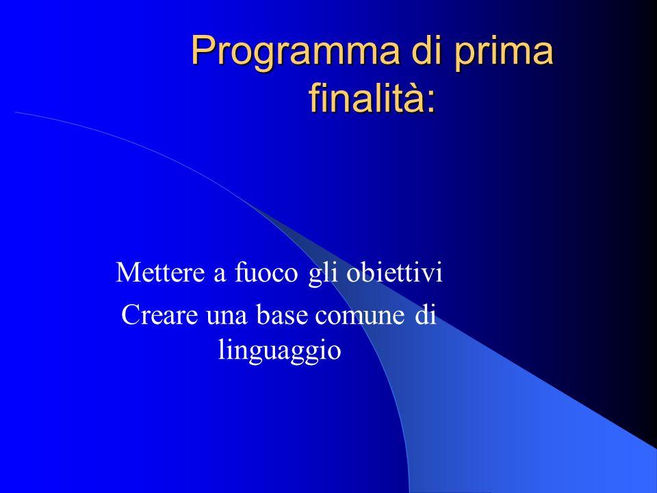 Programma di prima finalità: Mettere a fuoco gli obiettivi Creare una base comune di linguaggio