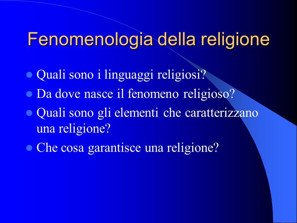Fenomenologia della religione Quali sono i linguaggi religiosi.