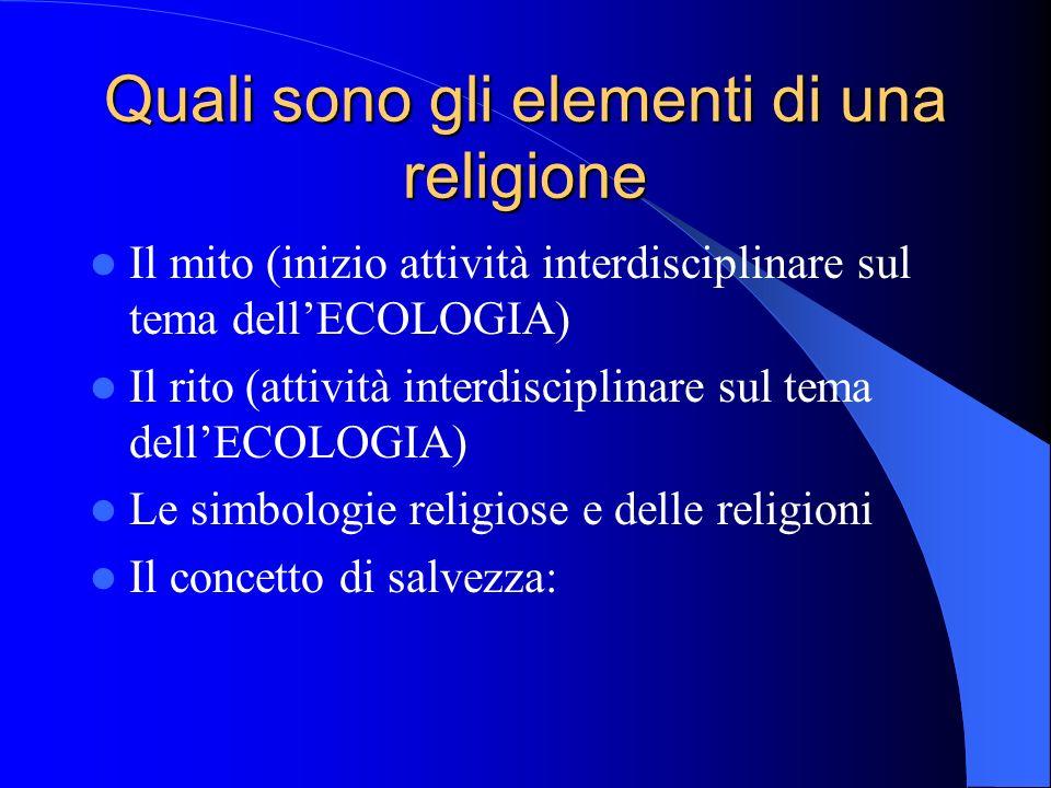 Quali sono gli elementi di una religione Il mito (inizio attività interdisciplinare sul tema dellECOLOGIA) Il rito (attività interdisciplinare sul tema dellECOLOGIA) Le simbologie religiose e delle religioni Il concetto di salvezza: