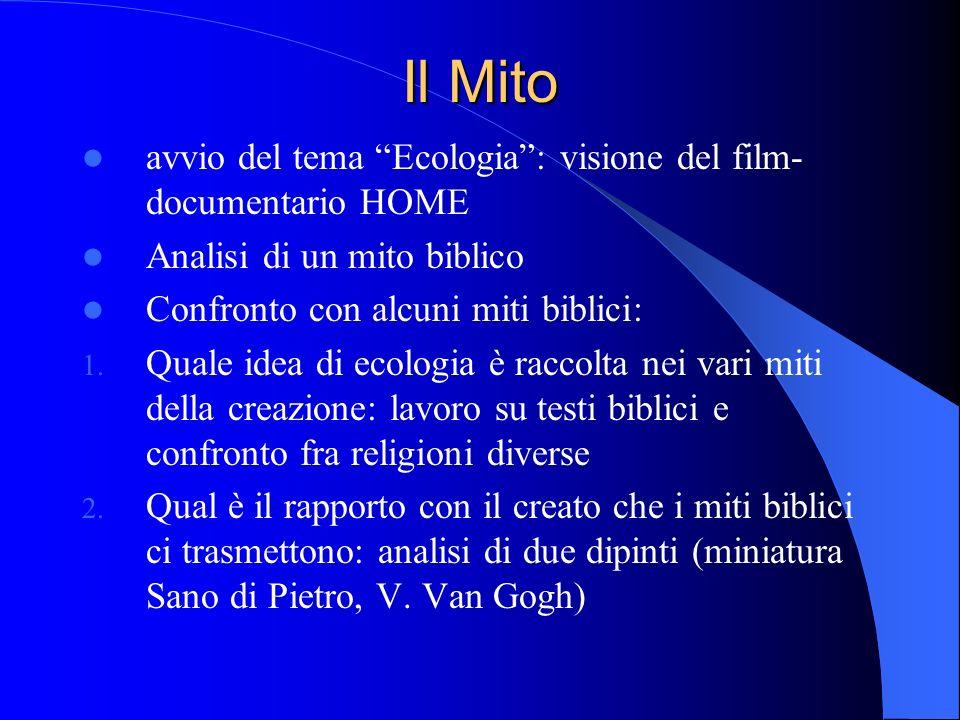 Il Mito avvio del tema Ecologia: visione del film- documentario HOME Analisi di un mito biblico Confronto con alcuni miti biblici: 1.