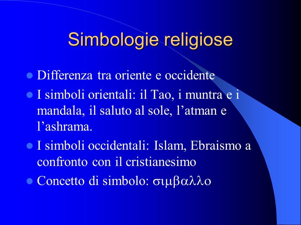 Simbologie religiose Differenza tra oriente e occidente I simboli orientali: il Tao, i muntra e i mandala, il saluto al sole, latman e lashrama.