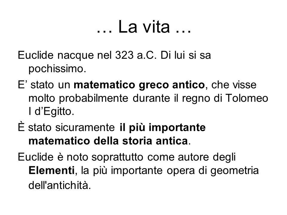 … La vita … Euclide nacque nel 323 a.C. Di lui si sa pochissimo. E stato un matematico greco antico, che visse molto probabilmente durante il regno di