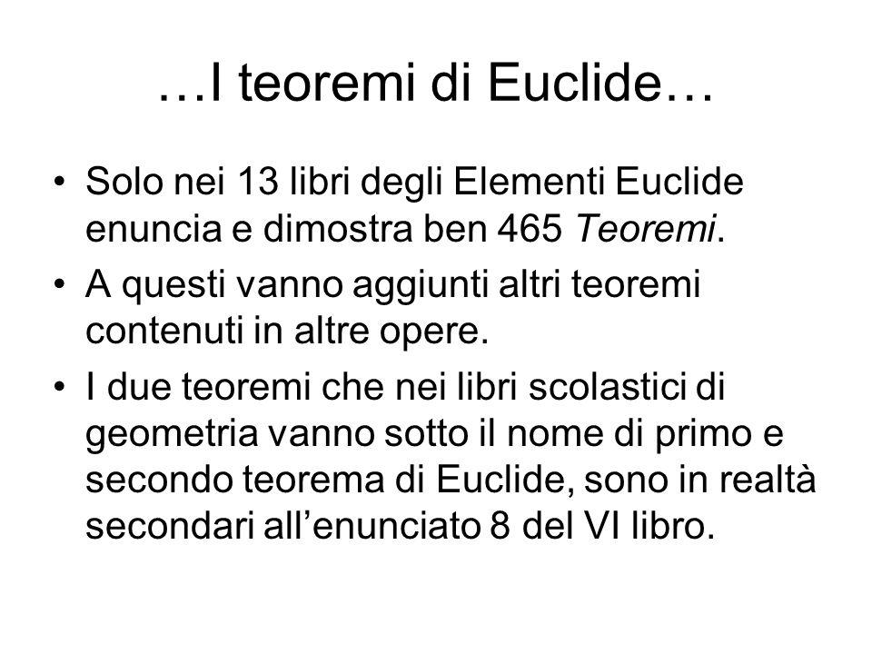 …I teoremi di Euclide… Solo nei 13 libri degli Elementi Euclide enuncia e dimostra ben 465 Teoremi. A questi vanno aggiunti altri teoremi contenuti in