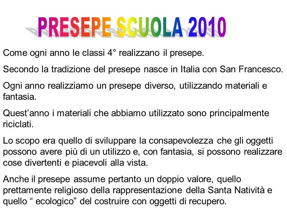 Come ogni anno le classi 4° realizzano il presepe. Secondo la tradizione del presepe nasce in Italia con San Francesco. Ogni anno realizziamo un prese