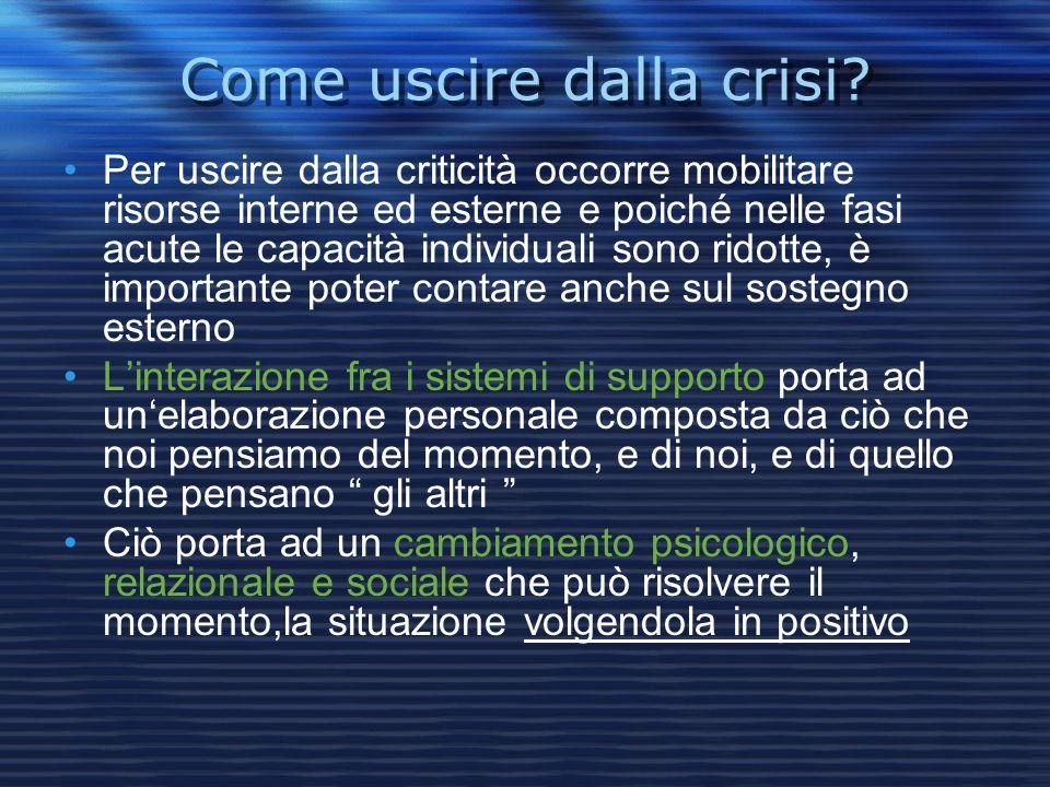 Come uscire dalla crisi? Per uscire dalla criticità occorre mobilitare risorse interne ed esterne e poiché nelle fasi acute le capacità individuali so