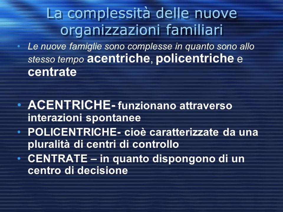 La complessità delle nuove organizzazioni familiari Le nuove famiglie sono complesse in quanto sono allo stesso tempo acentriche, policentriche e cent