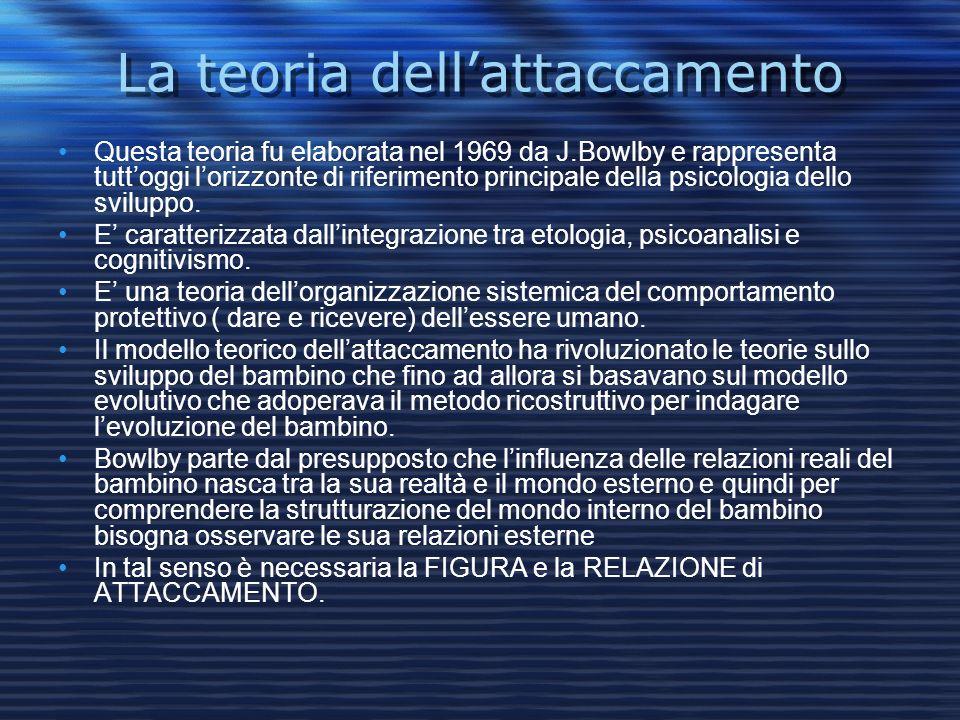 La teoria dellattaccamento Questa teoria fu elaborata nel 1969 da J.Bowlby e rappresenta tuttoggi lorizzonte di riferimento principale della psicologi