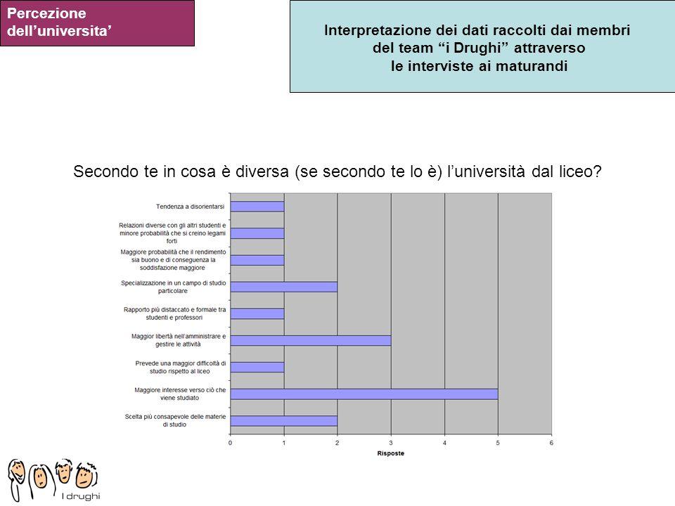 Interpretazione dei dati raccolti dai membri del team i Drughi attraverso le interviste ai maturandi Percezione delluniversita Secondo te in cosa è di