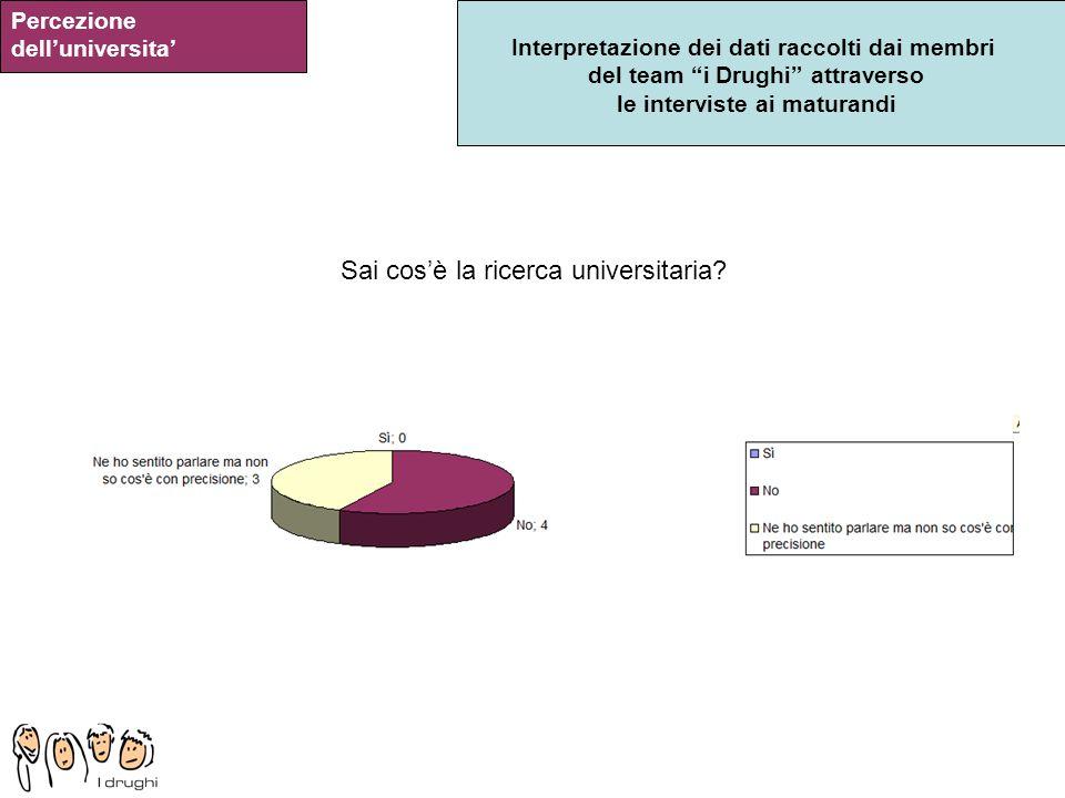 Interpretazione dei dati raccolti dai membri del team i Drughi attraverso le interviste ai maturandi Percezione delluniversita Sai cosè la ricerca uni