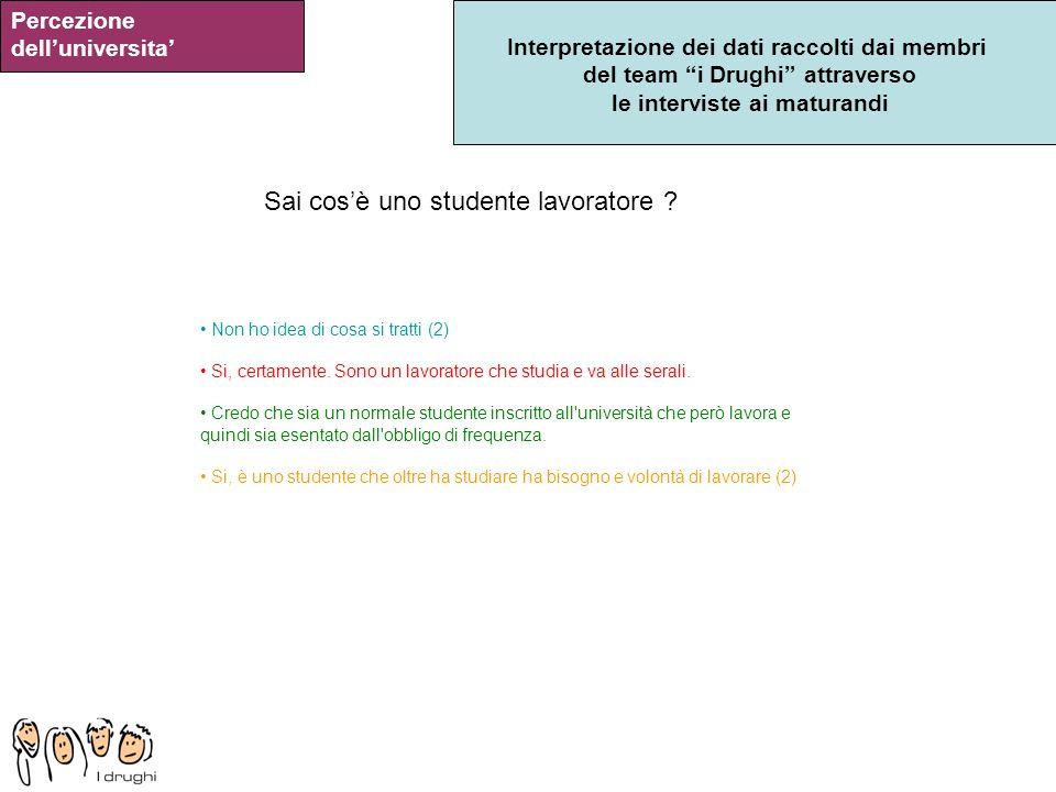 Interpretazione dei dati raccolti dai membri del team i Drughi attraverso le interviste ai maturandi Percezione delluniversita Sai cosè uno studente l