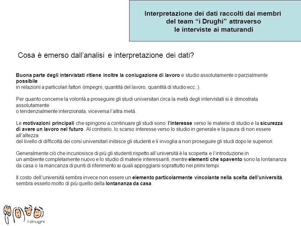 Interpretazione dei dati raccolti dai membri del team i Drughi attraverso le interviste ai maturandi Cosa è emerso dallanalisi e interpretazione dei d