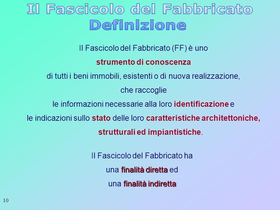 10 Il Fascicolo del Fabbricato (FF) è uno strumento di conoscenza di tutti i beni immobili, esistenti o di nuova realizzazione, che raccoglie le infor