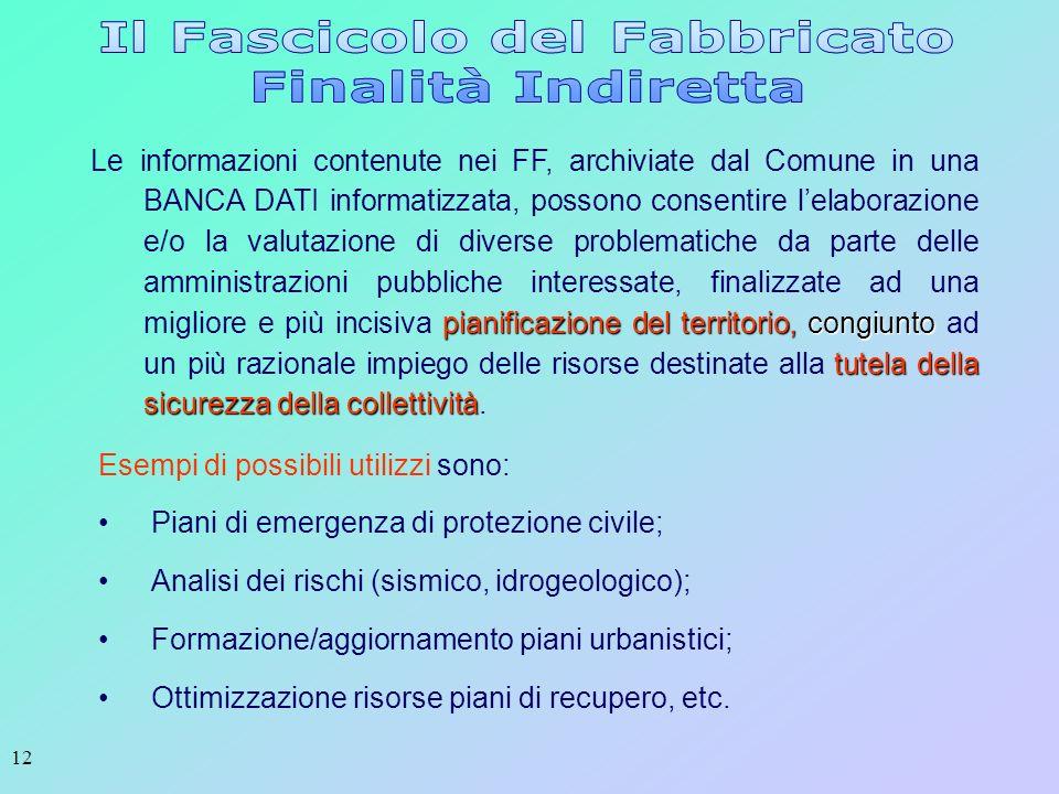 12 pianificazione del territorio, congiunto tutela della sicurezza della collettività Le informazioni contenute nei FF, archiviate dal Comune in una B