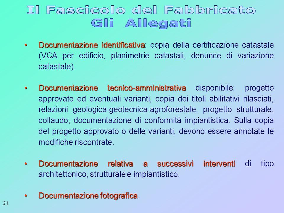 21 Documentazione identificativaDocumentazione identificativa: copia della certificazione catastale (VCA per edificio, planimetrie catastali, denunce