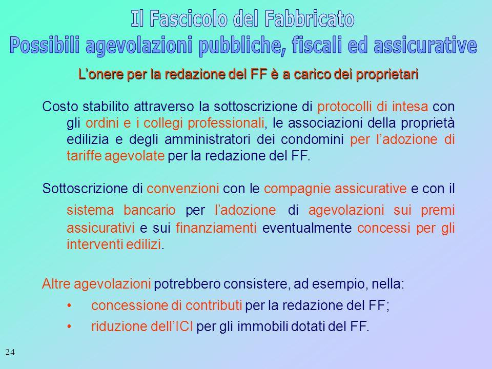 24 Lonere per la redazione del FF è a carico dei proprietari Costo stabilito attraverso la sottoscrizione di protocolli di intesa con gli ordini e i c