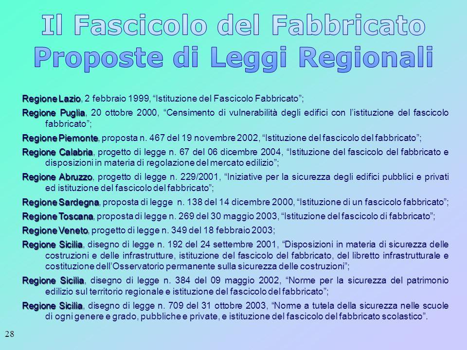 28 Regione Lazio Regione Lazio, 2 febbraio 1999, Istituzione del Fascicolo Fabbricato; Regione Puglia Regione Puglia, 20 ottobre 2000, Censimento di v