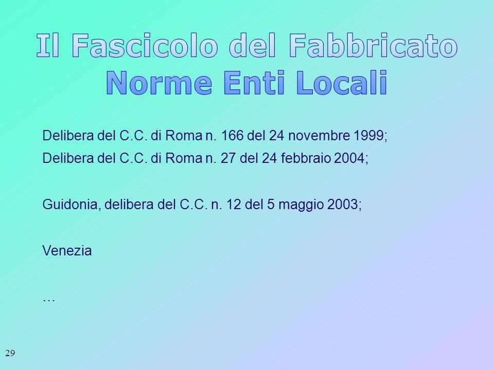 29 Delibera del C.C. di Roma n. 166 del 24 novembre 1999; Delibera del C.C. di Roma n. 27 del 24 febbraio 2004; Guidonia, delibera del C.C. n. 12 del