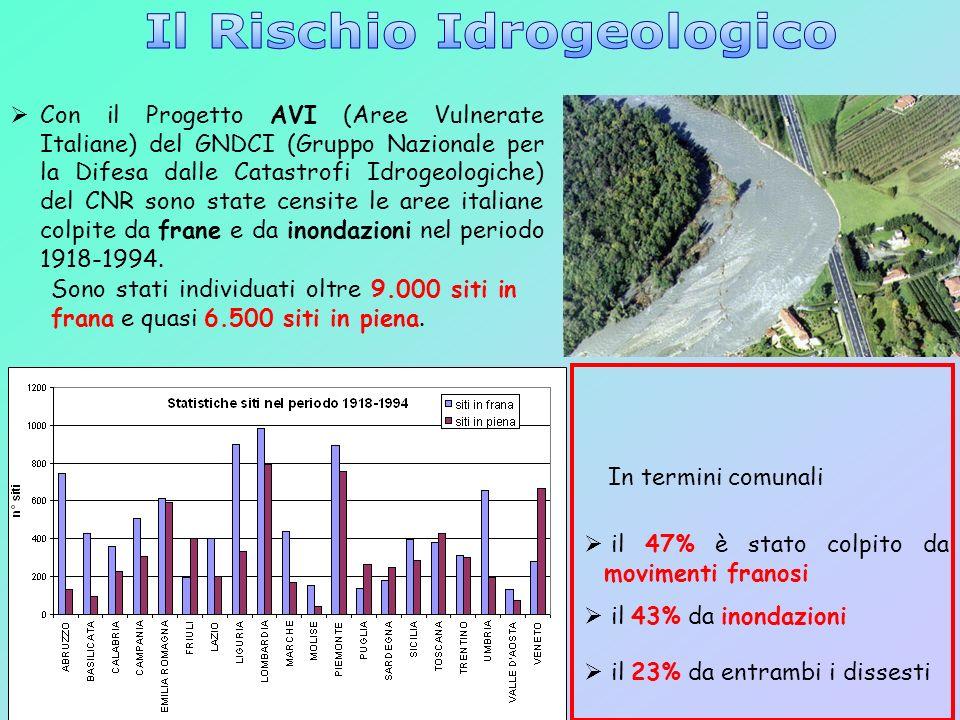 6 Con il Progetto AVI (Aree Vulnerate Italiane) del GNDCI (Gruppo Nazionale per la Difesa dalle Catastrofi Idrogeologiche) del CNR sono state censite