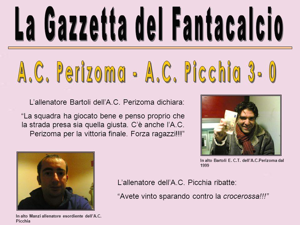 Lallenatore Bartoli dellA.C. Perizoma dichiara: La squadra ha giocato bene e penso proprio che la strada presa sia quella giusta. Cè anche lA.C. Periz