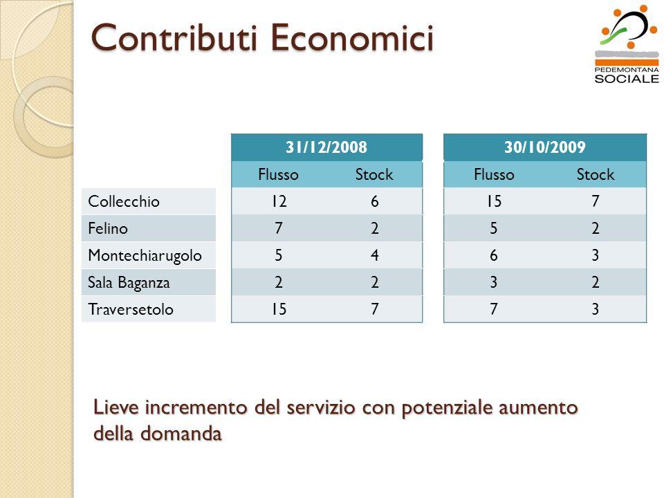 Contributi Economici 31/12/200830/10/2009 FlussoStockFlussoStock Collecchio126157 Felino7252 Montechiarugolo5463 Sala Baganza2232 Traversetolo15773 Lieve incremento del servizio con potenziale aumento della domanda