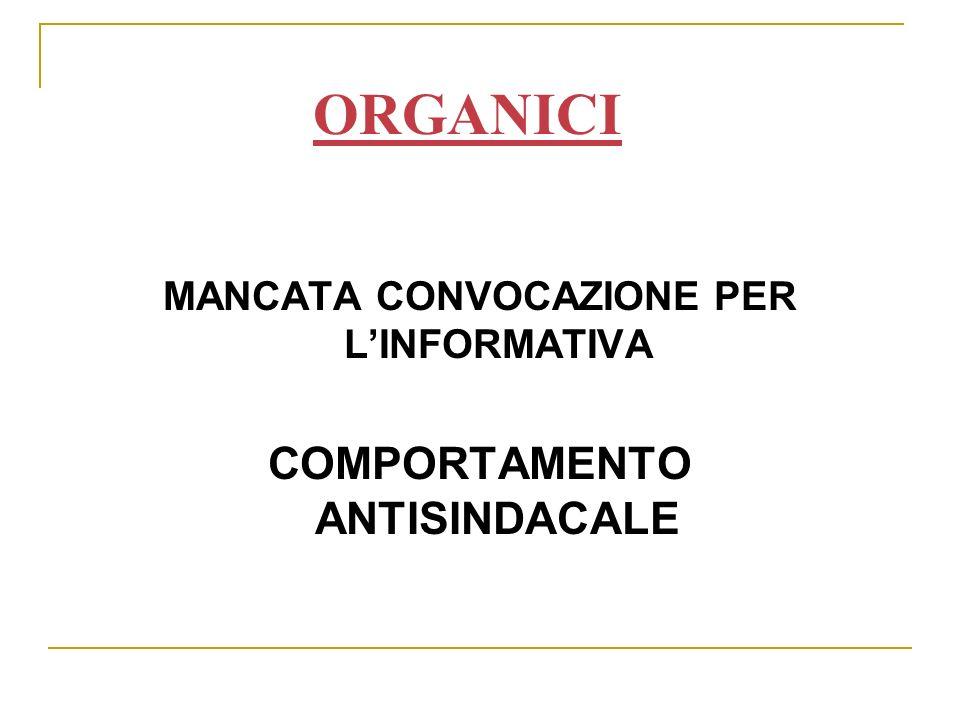 MANCATA CONVOCAZIONE PER LINFORMATIVA COMPORTAMENTO ANTISINDACALE ORGANICI